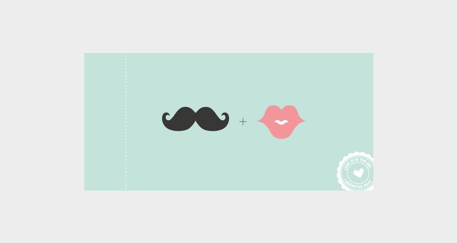 trouwkaart in de vorm van een ticket met snor en lippen opdruk