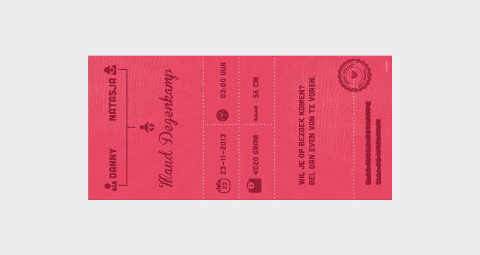 geboortekaartje ticket