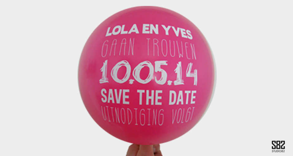 save the date ballon roze