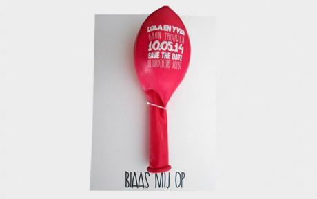 Save The Date kaart met ballon