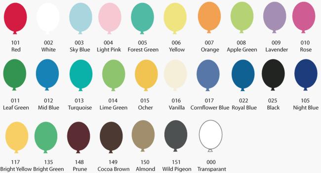 kleurenkaart ballonnen