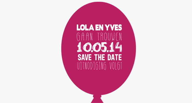 save the date ballon fuchsia