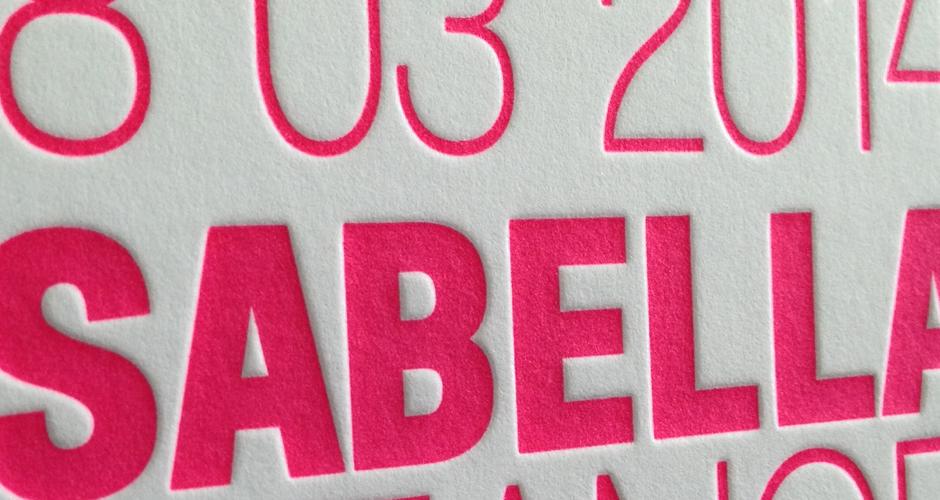 letterpress geboortekaartje neon roze