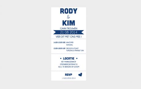 trouwkaart letterpress ticket Kim en Rody