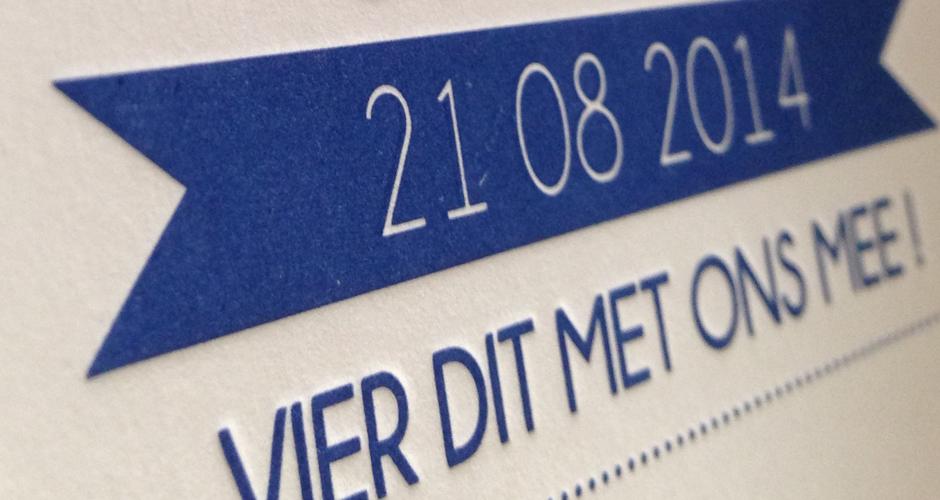 trouwkaart letterpress ticket