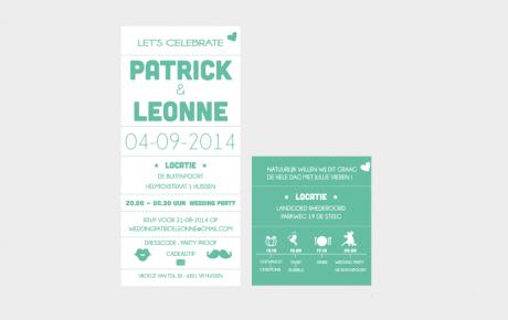 trouwkaart letterpress set met tijdlijnkaart