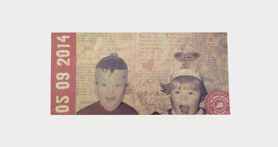 trouwkaart vintage met foto