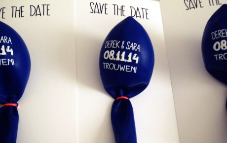 save the date ballon met kaart op maat