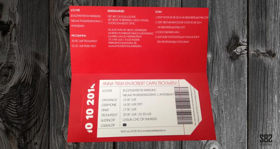 trouwkaart ticket met mapje