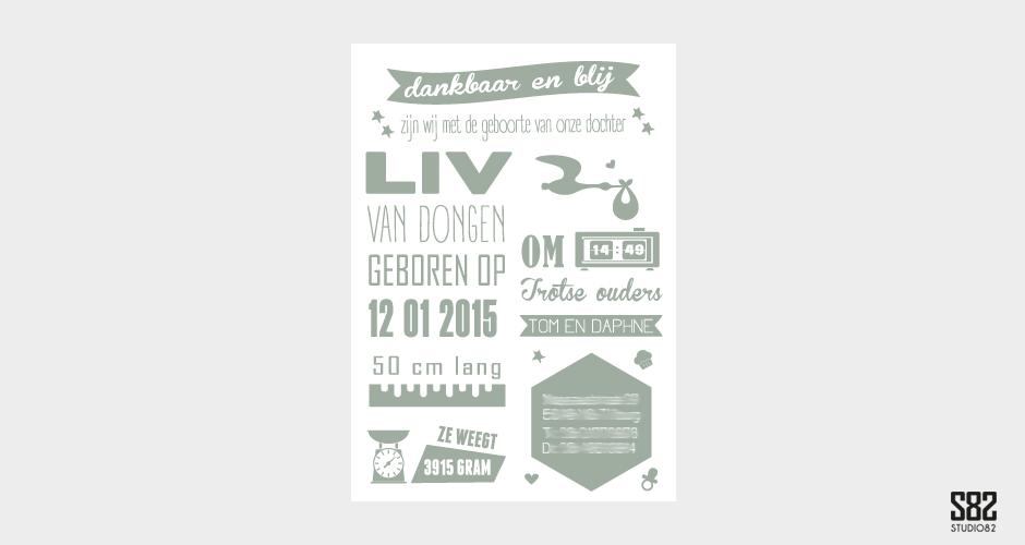 letterpress geboortekaartje vintage