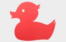 Letterpress geboortekaartje fluor oranje badeend