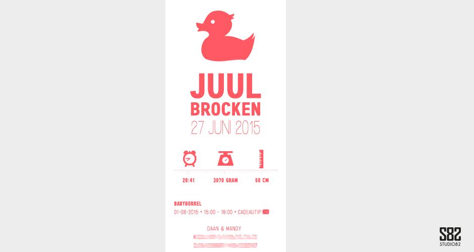 letterpress geboortekaartje eendje neon
