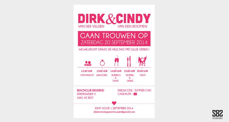 letterpress trouwkaarten fluor roze tijdlijn