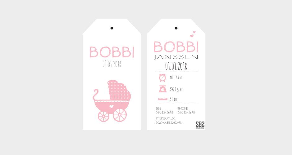 geboorte label vintage kinderwagen wit karton