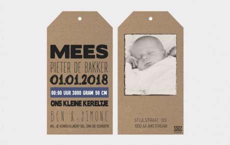 geboortekaartje label met foto