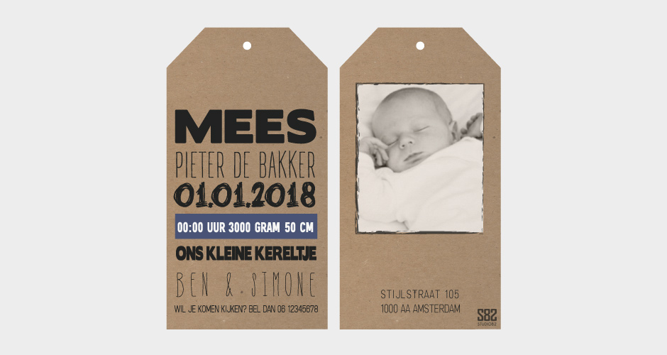 geboorte label kraft karton met foto