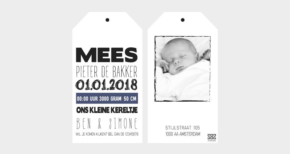geboorte label wit karton met foto