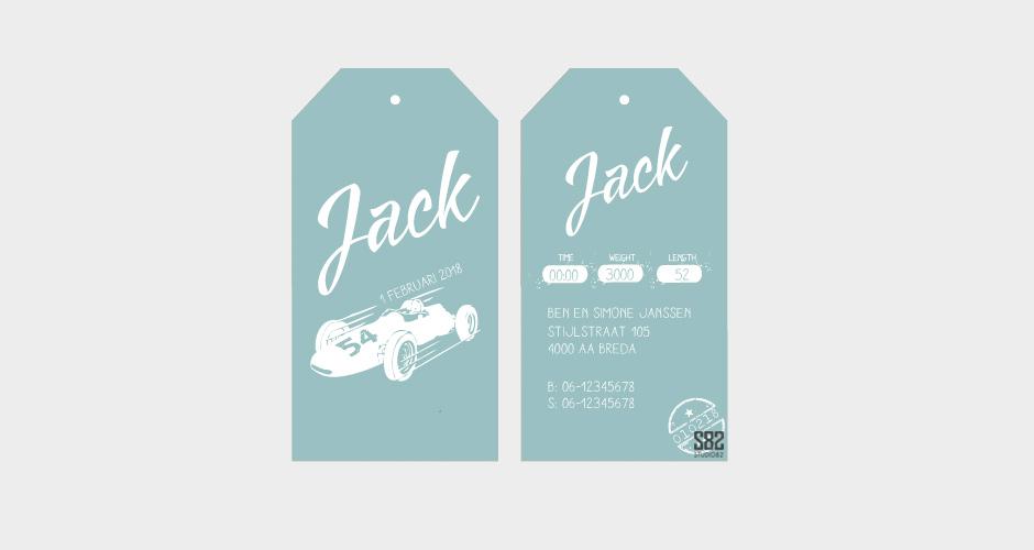 geboorte label race auto mint groen karton