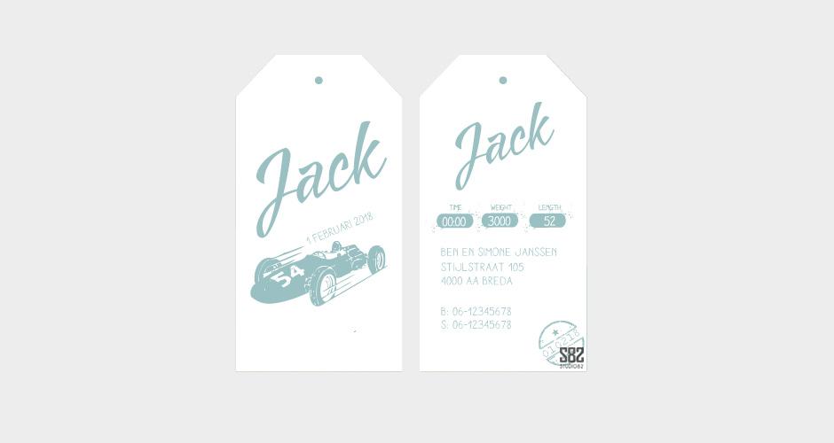 geboorte label race auto mint groen wit karton
