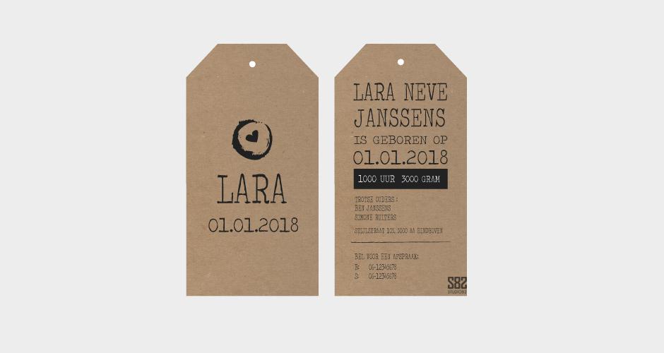 geboorte label vintage hartje kraft karton