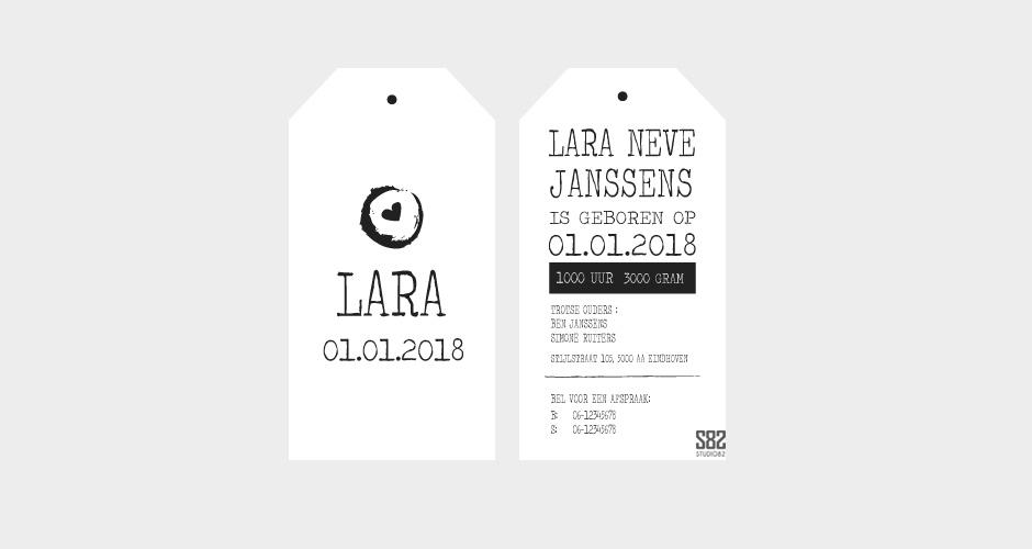 geboorte label vintage hartje wit karton