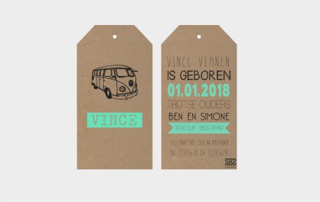 geboortekaartje label hippie bus