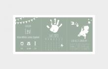 Letterpress geboortekaart met baby handje vintage groen