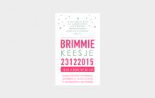 Letterpress geboorte kaartje label fluor roze en vintage groen