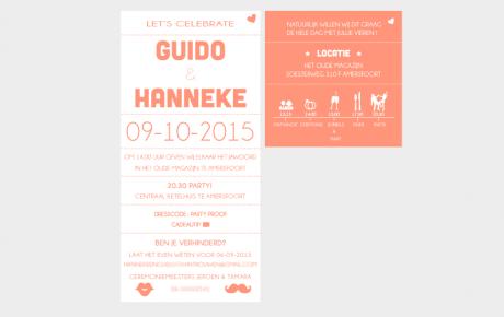 Letterpress trouwkaart oranje met tijdlijnkaartje