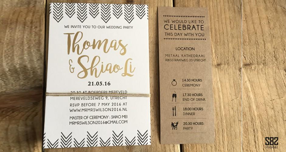 trouwkaart letterpress set met foliedruk en kraft tijdlijn kaart