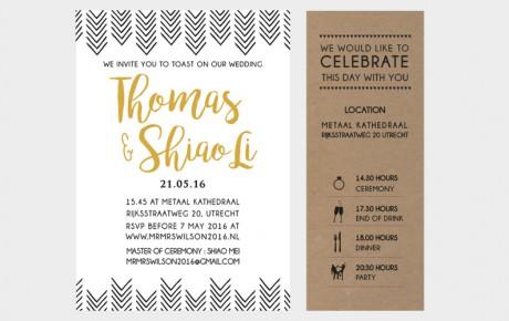 Letterpress trouwkaart set met goud folie en kraft tijdlijn kaart