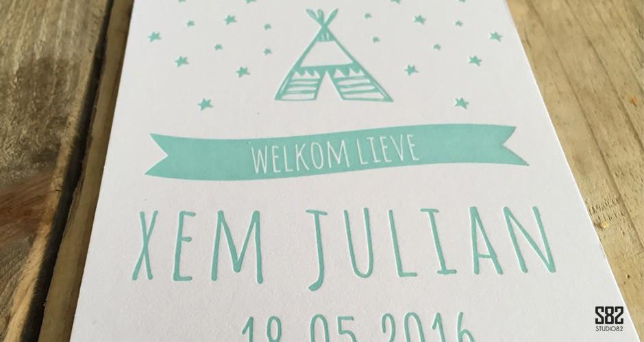letterpress geboorte kaart mint groen tipi