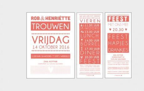Letterpress trouwkaarten set fluor oranje